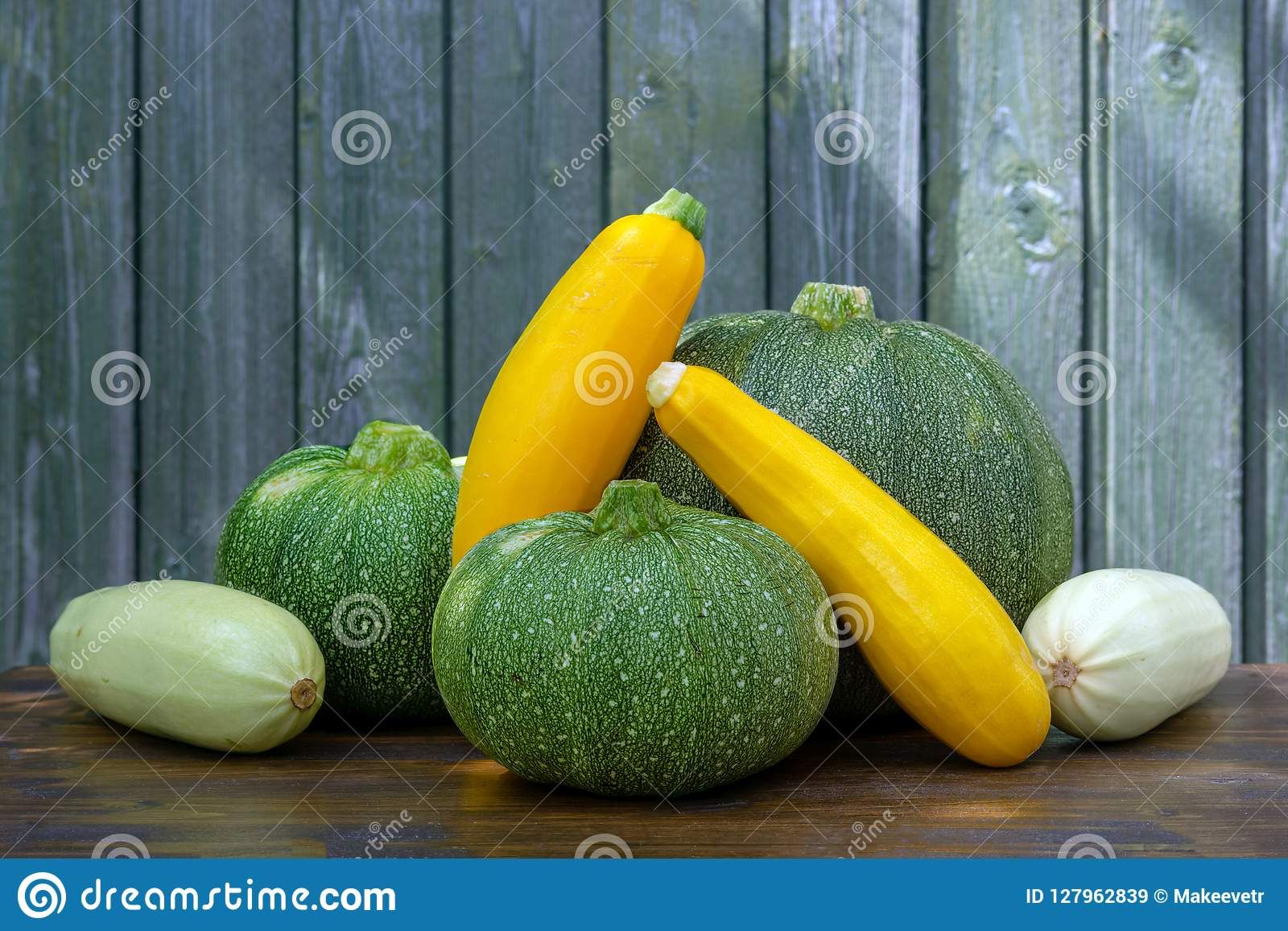 Fresh harvest of three kinds of courgettes