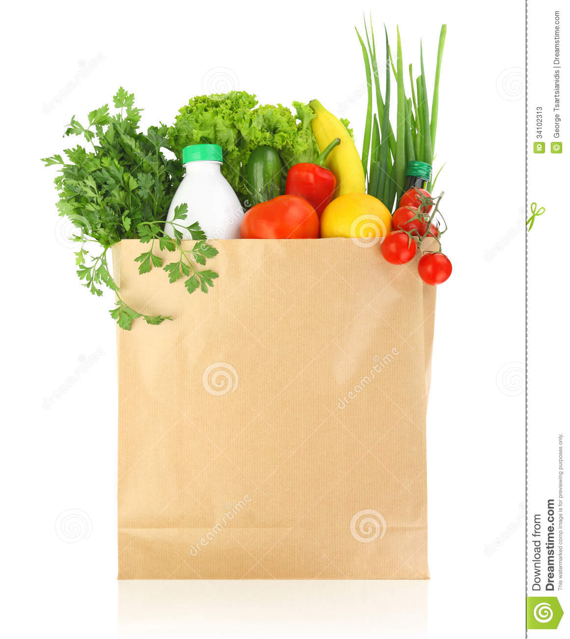 Fresh Healthy Groceries In A Bag Stock Photos - Image: 34102313