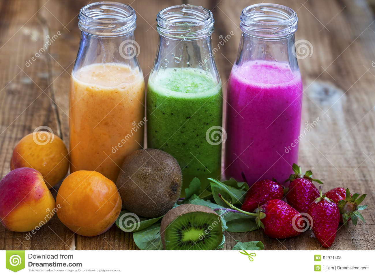 Download Fresh Healthy Three Types Of Fruits Juices Or Smoothies Bottles, Stock Photo - Image of juice, juicy: 92971408