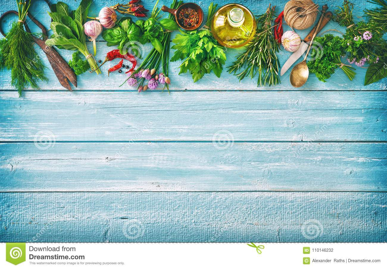Fresh Herbs And Spices On Wooden Table Stock Photo - Image of ...