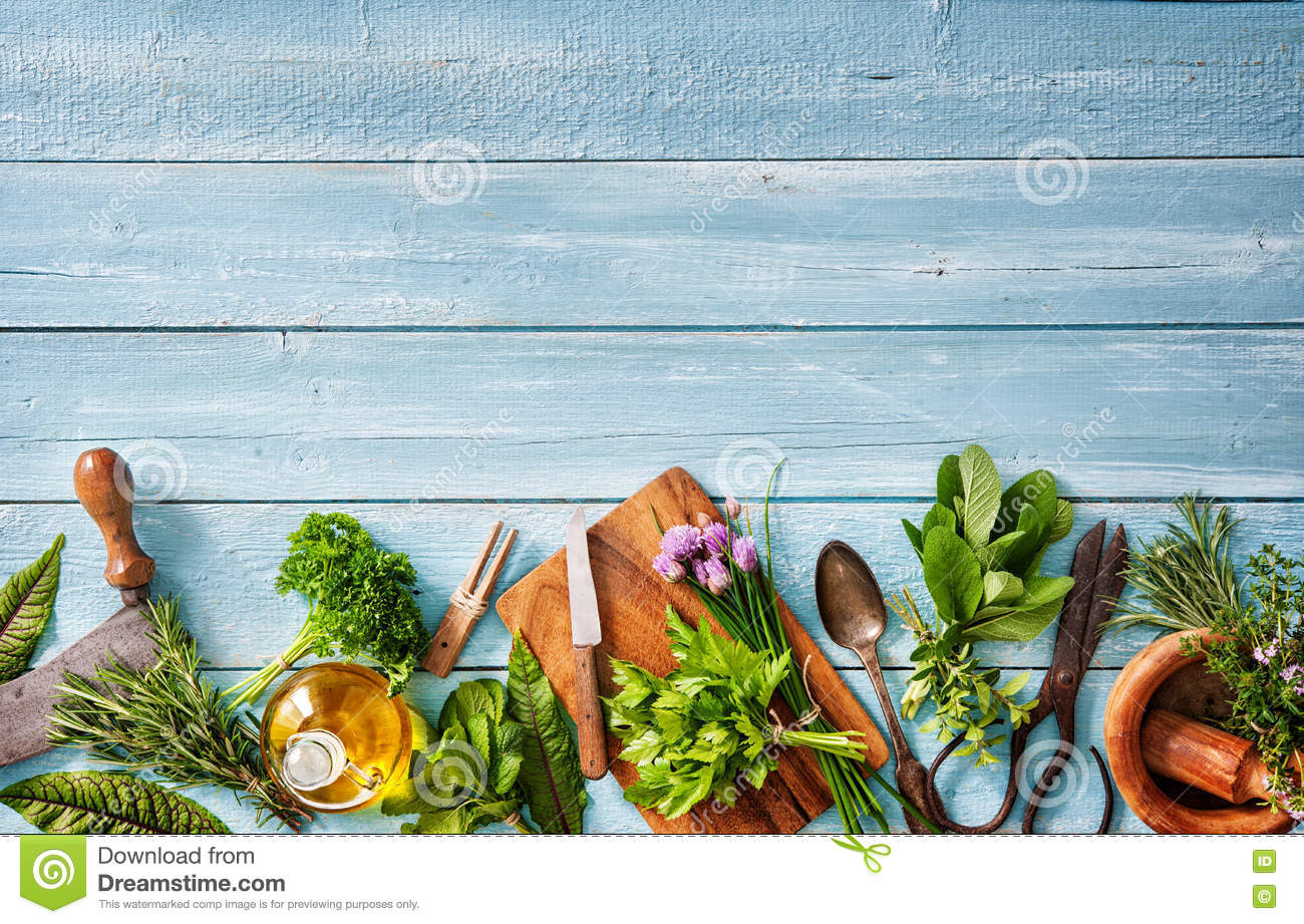 Fresh Herbs And Spices On Wooden Table Stock Image - Image of fresh ...
