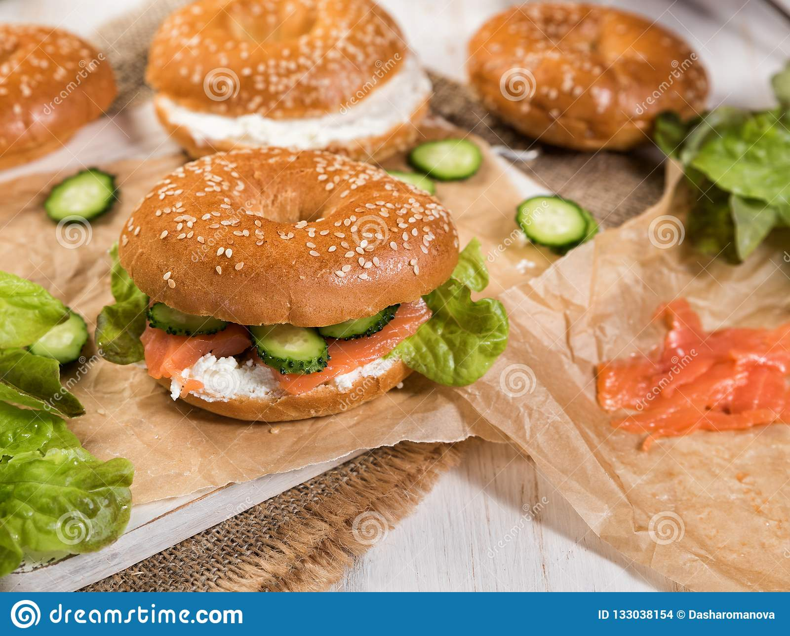 Fresh Homemade Bagel Sandwiches With Smoked Salmon Stock Photo