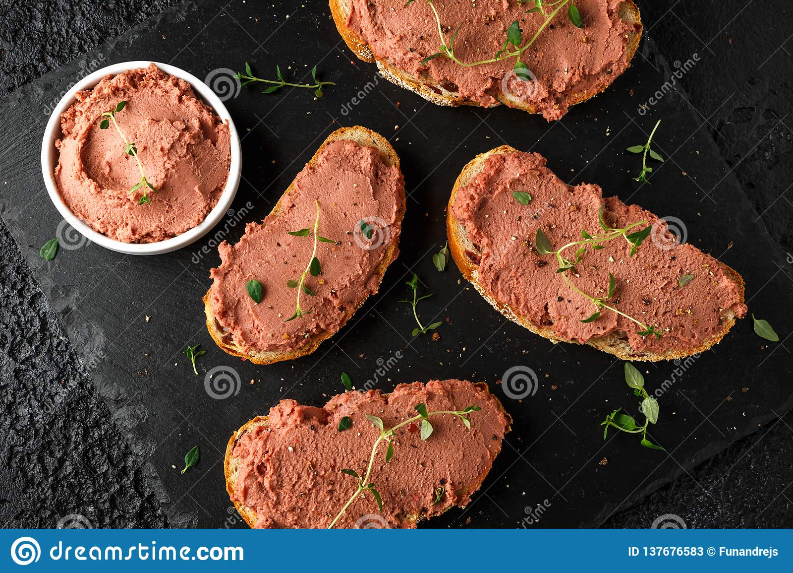 Fresh homemade chicken liver pate on bread