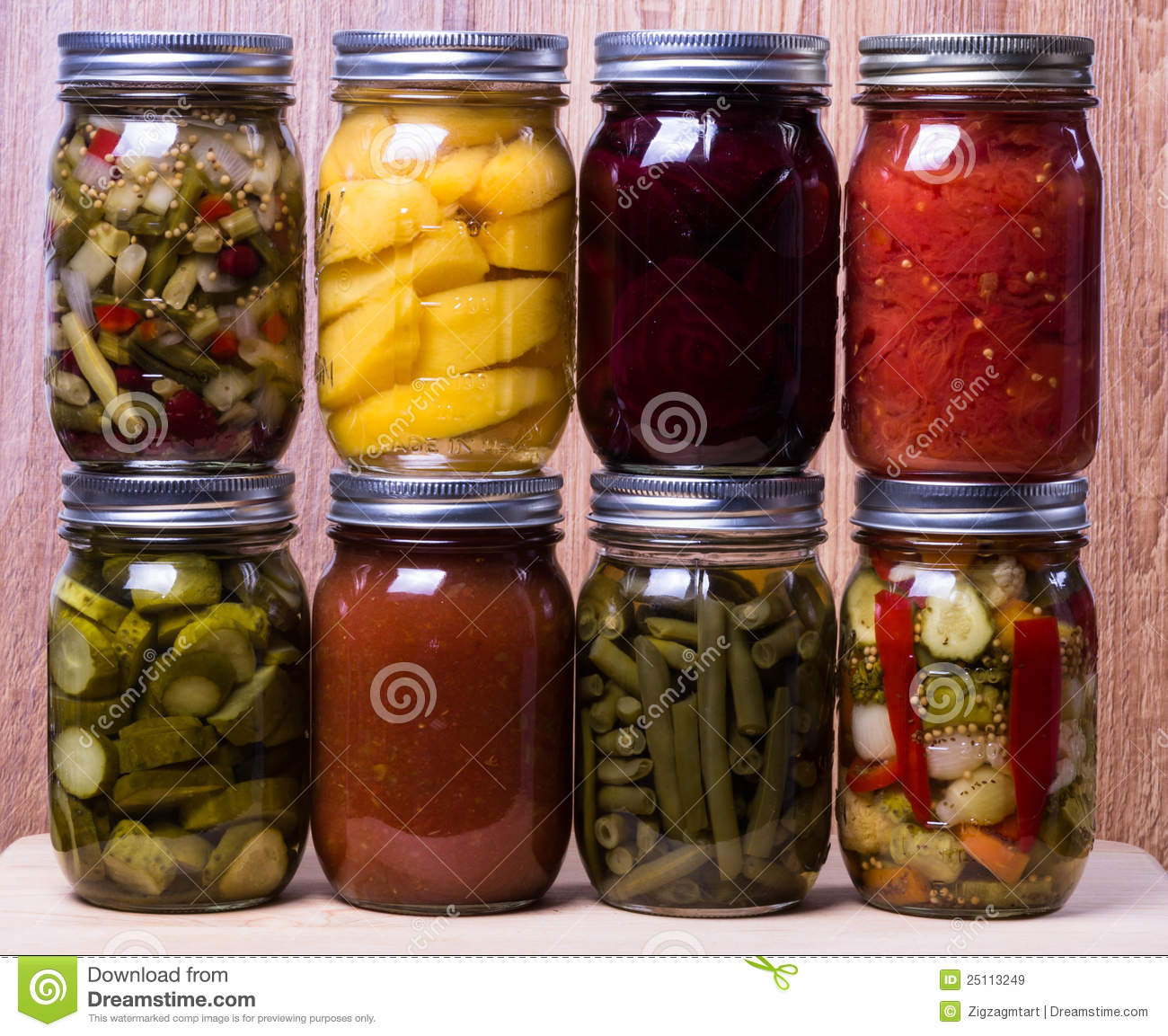 Fresh Homemade Preserved Vegetables And Fruits Royalty ...