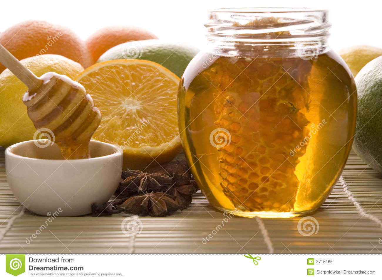 Fresh Honey With Honeycomb, Spices And Fruits Royalty Free Stock ...