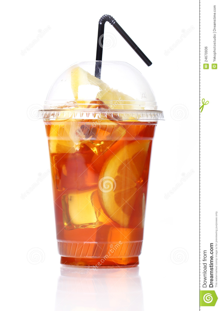 Fresh ice tea in plastic glass