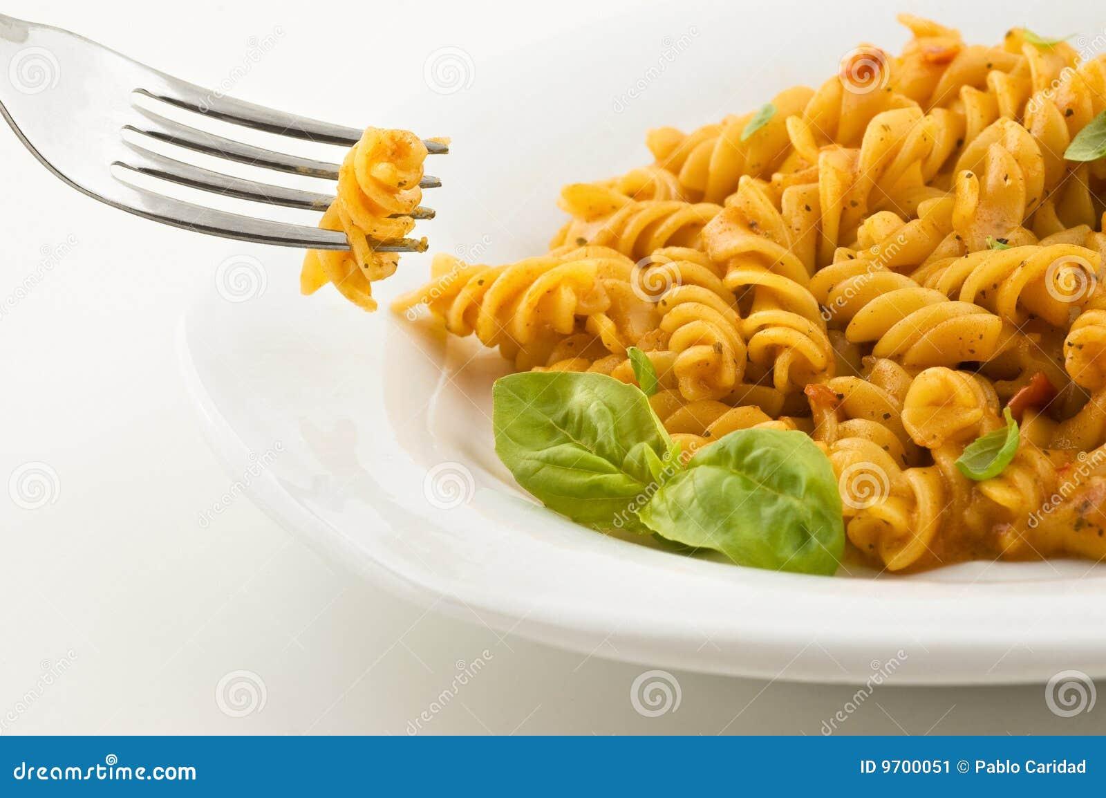Fresh Italian Pasta With Tomato Sauce And Basil. Stock Image - Image ...