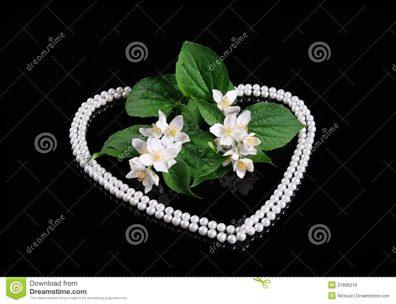 fresh jasmine flower and heart of pearl royalty free stock. Black Bedroom Furniture Sets. Home Design Ideas