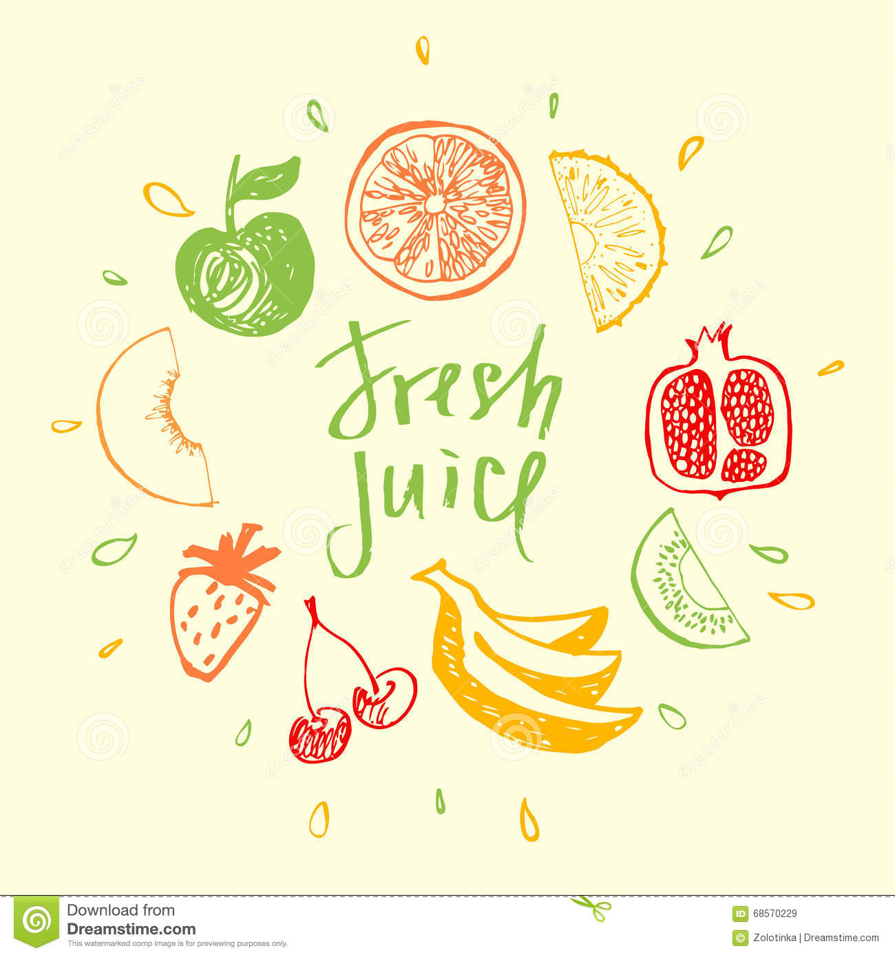 Fresh juice design element for eco mixed fresh juice and for Fresh design