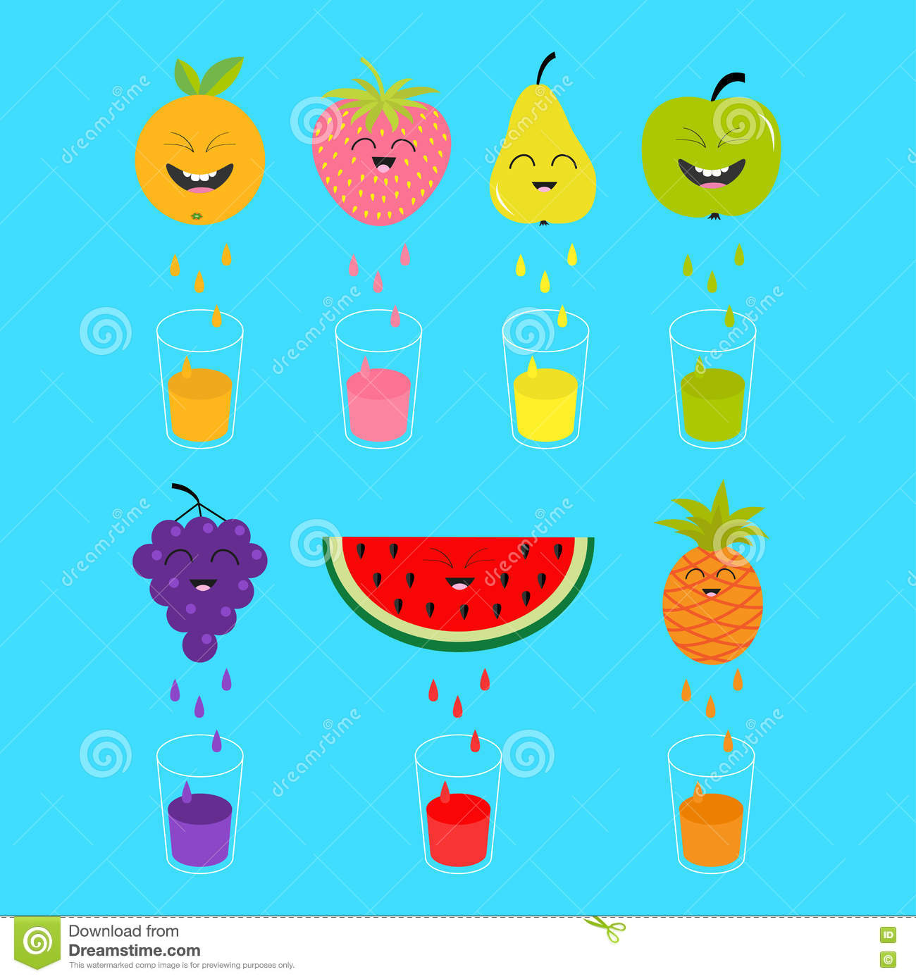 Fresh juice and fruits in hd photos cute babies photos collection - Fresh Juice And Glasses Apple Strawberry Pear Orange Grape Watermelon Pineaple Fruit With Faces Smiling Cute Cartoon Chara