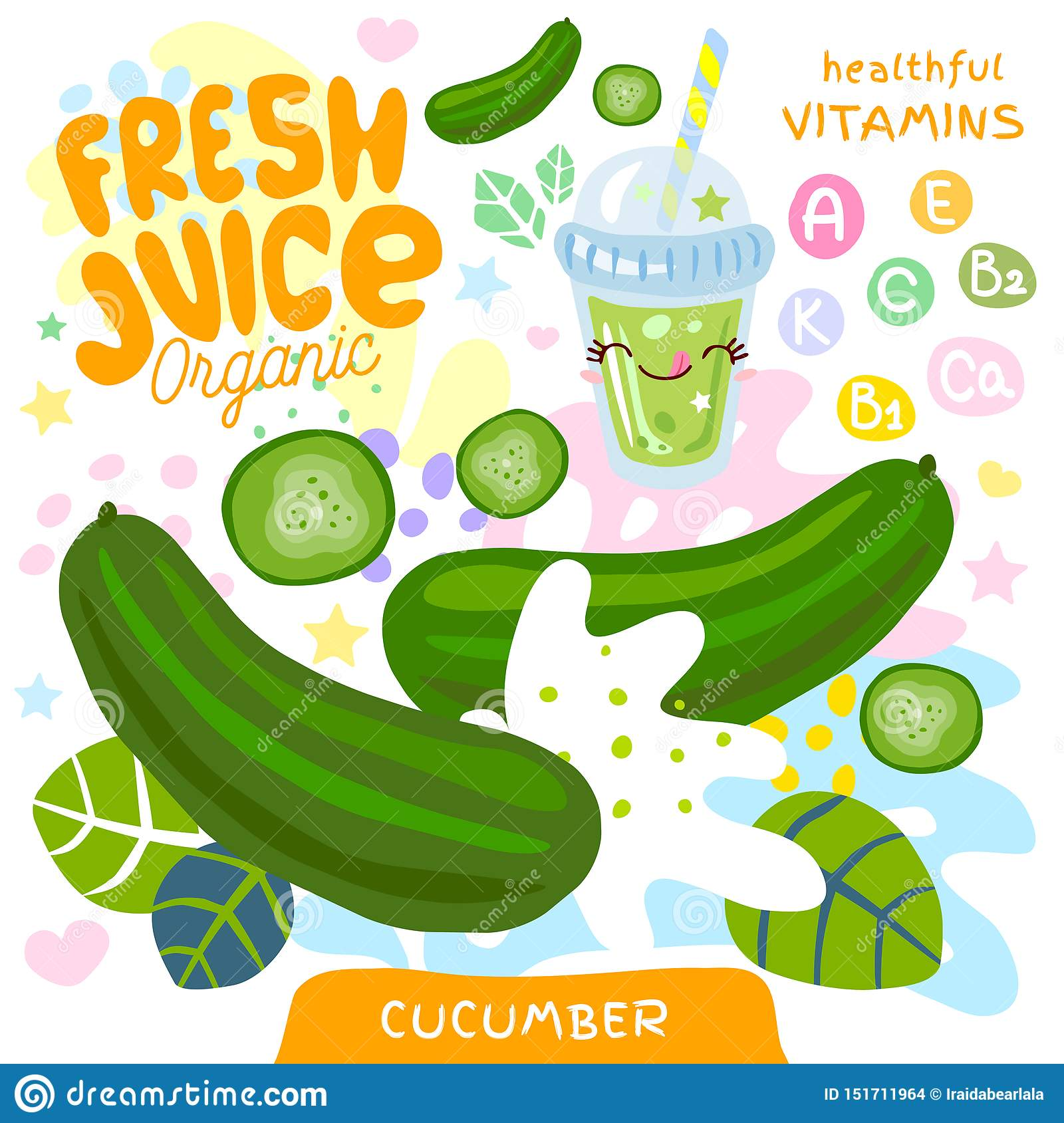 Fresh juice organic glass cute kawaii character. Cucumber vegetable green smoothies cup. Vector illustration.
