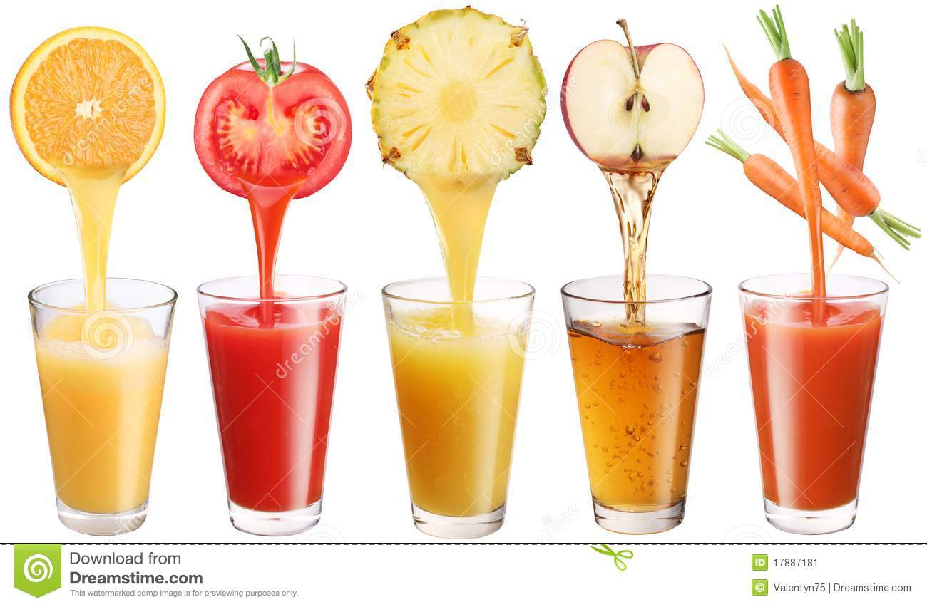 Fresh juice pours from fruits and vegetables