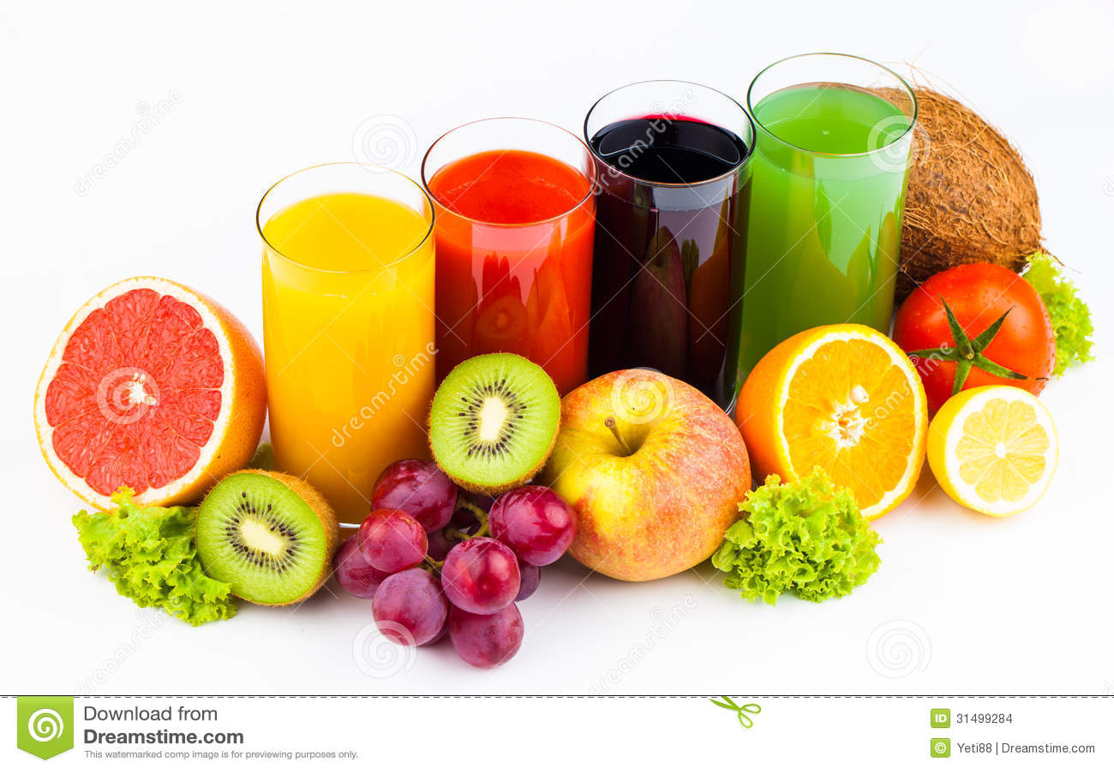 Download Fresh Juices Isolated On White Stock Photo - Image of cocktail, kiwi: 31499284