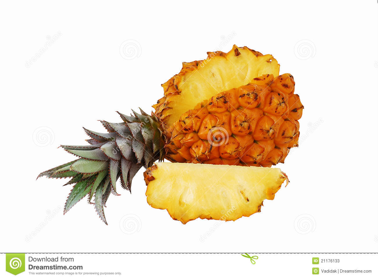Fresh juicy pineapple with cut off slice
