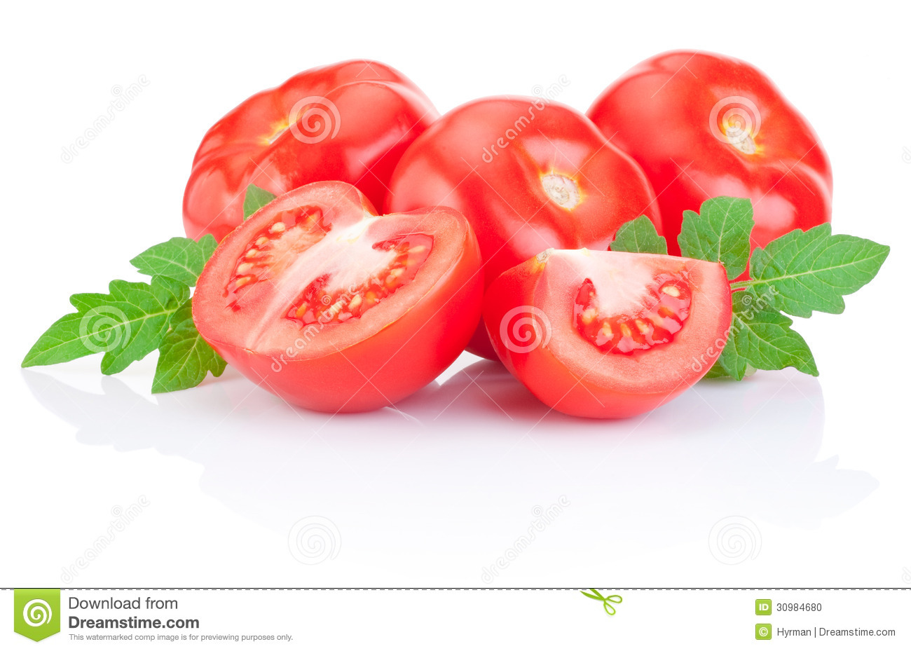 69408b87f Fresh Juicy Tomato With Green Leaves Isolated On White Stock Photo ...