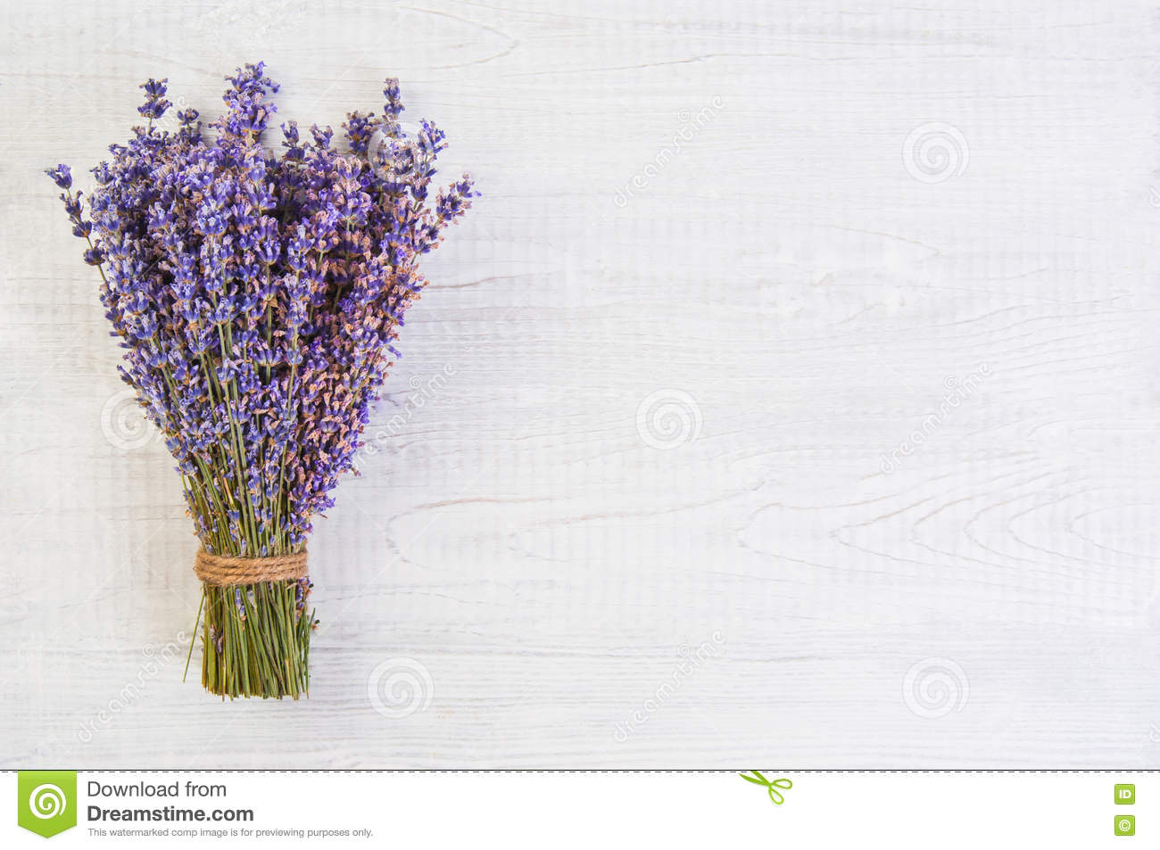 Fresh Lavender Flowers On White Wood Table Background Free Space Stock Image