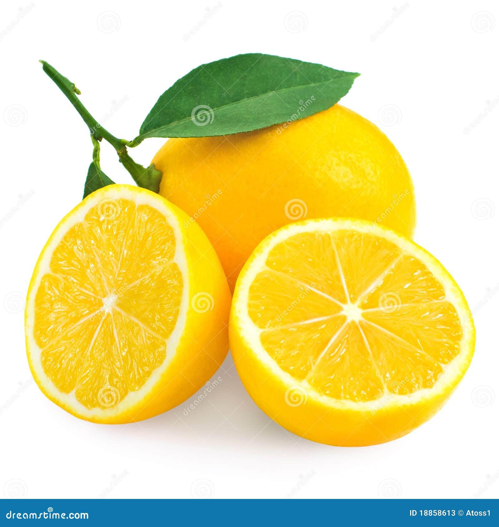 Fresh lemon citrus and half