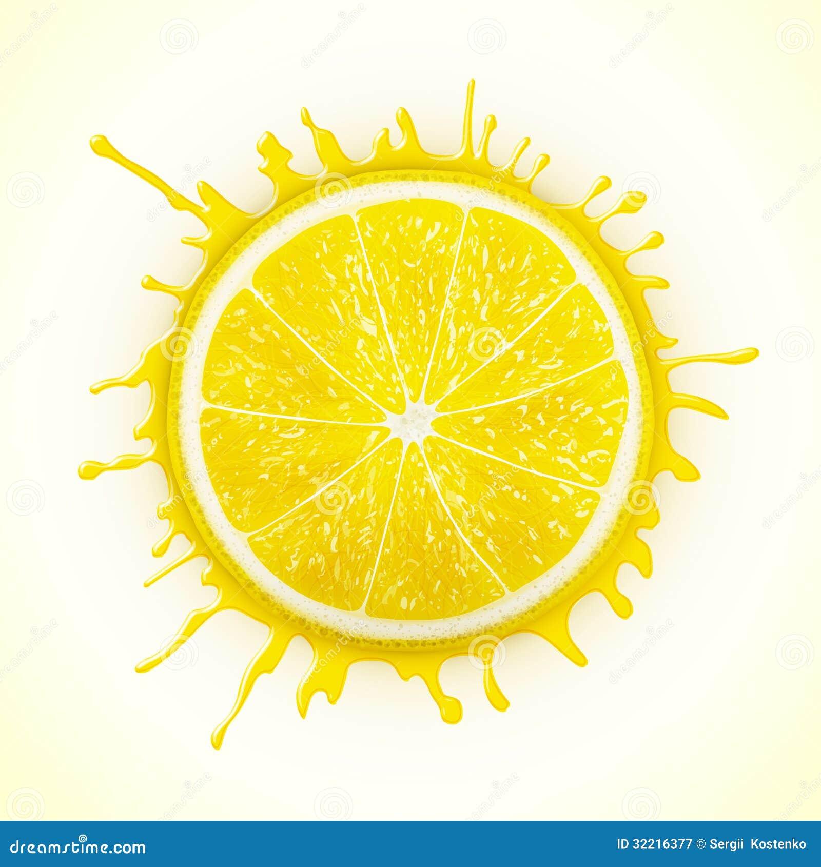 Fresh Lemon With Splash Stock Vector Image Of Juice 32216377