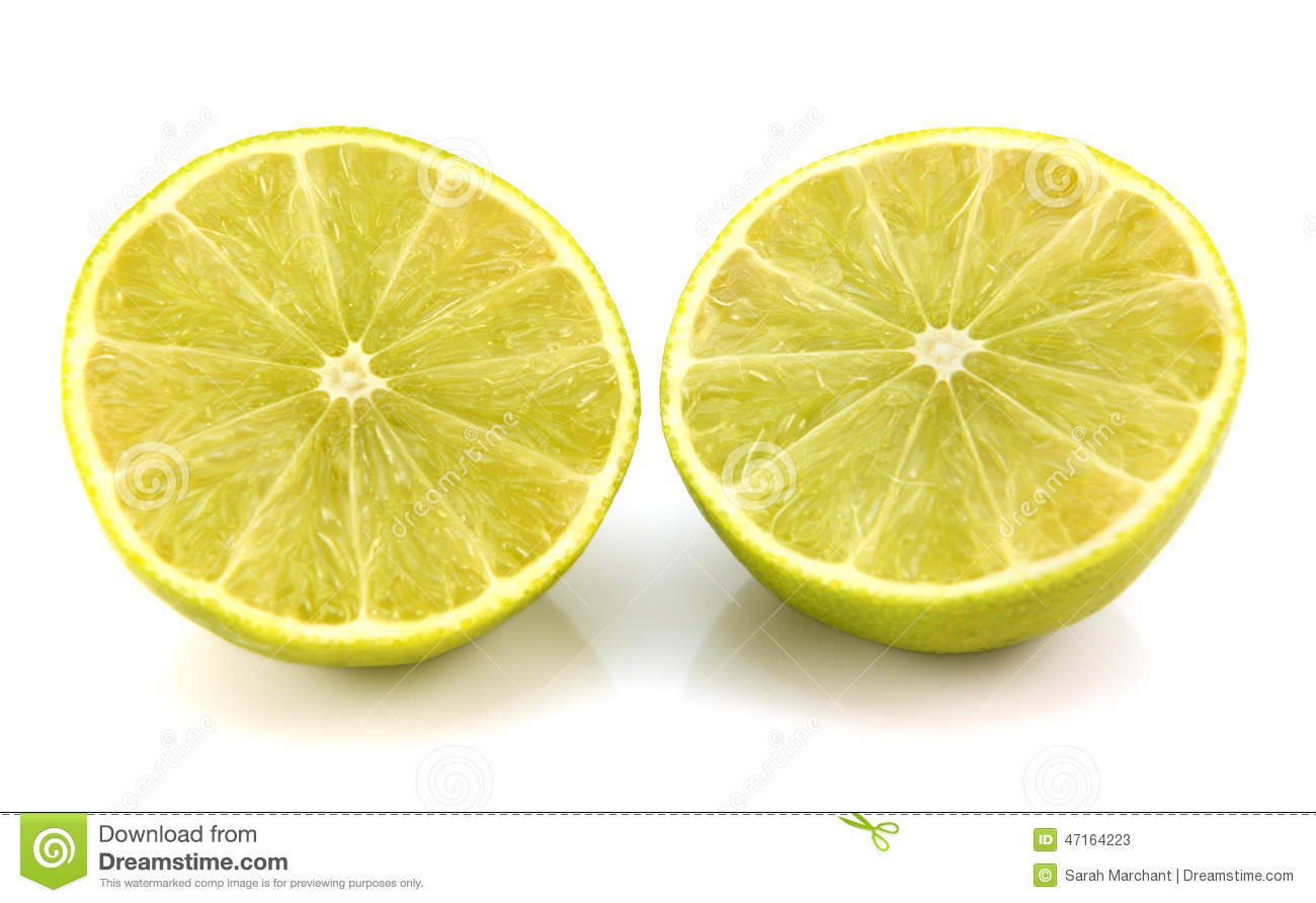 Fresh Lime Fruit Cut In Half Showing Cross Section Stock Photo - Image ...