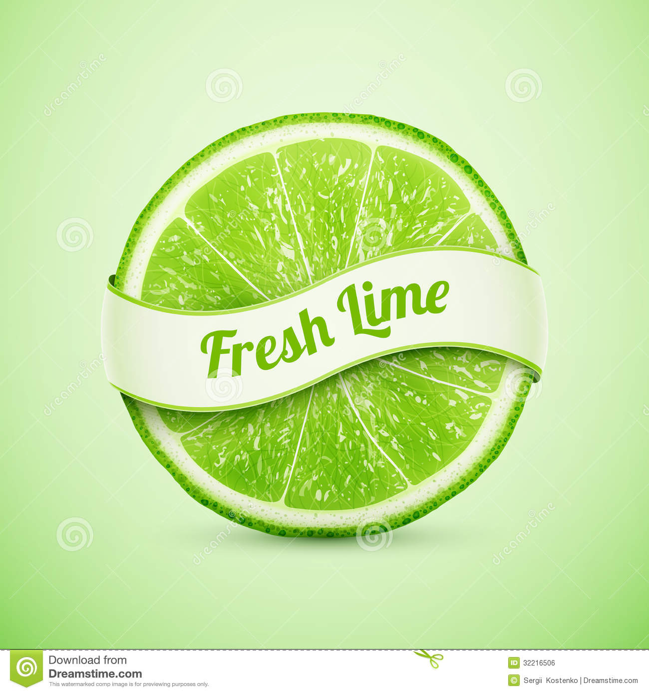 Fresh lime with ribbon