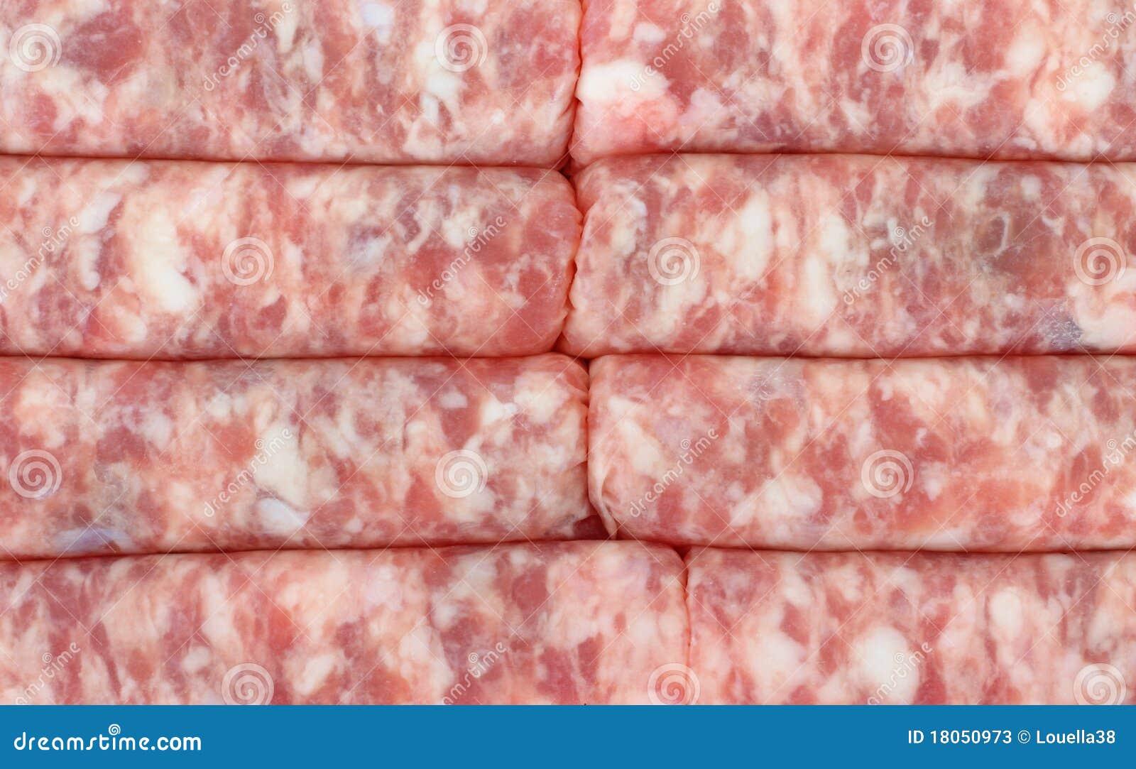 close view of fresh ground pork link sausage.
