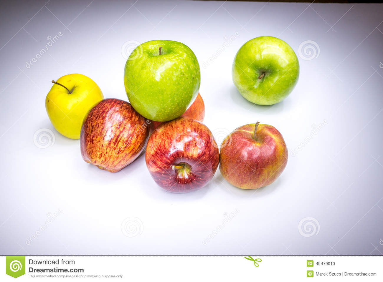 Fresh lucky seven multicolored apples