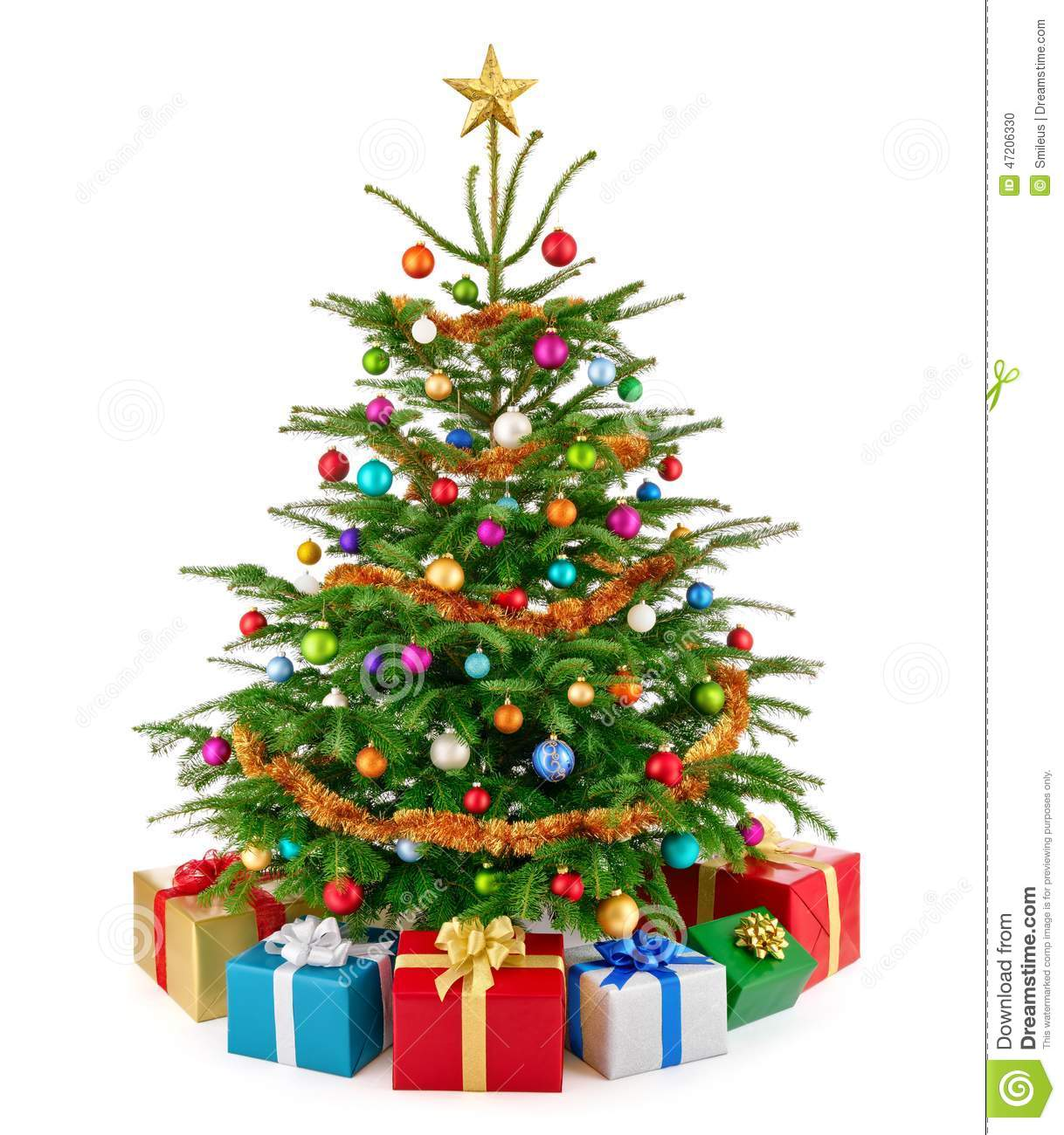 Fresh lush christmas tree with colorful gift boxes stock