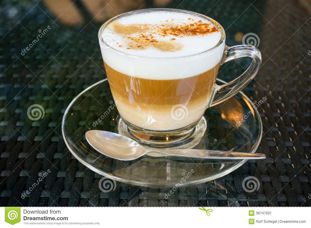 Fresh Made Cappuccino Coffee In A Glass Cup Stock Image