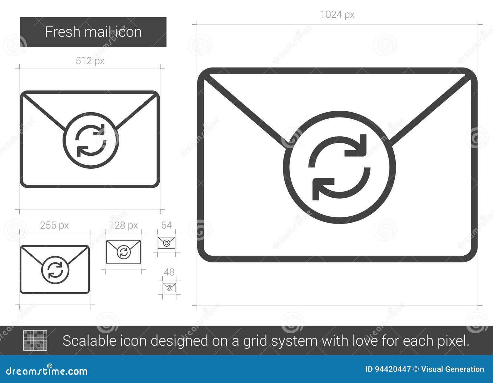 Fresh mail line icon.