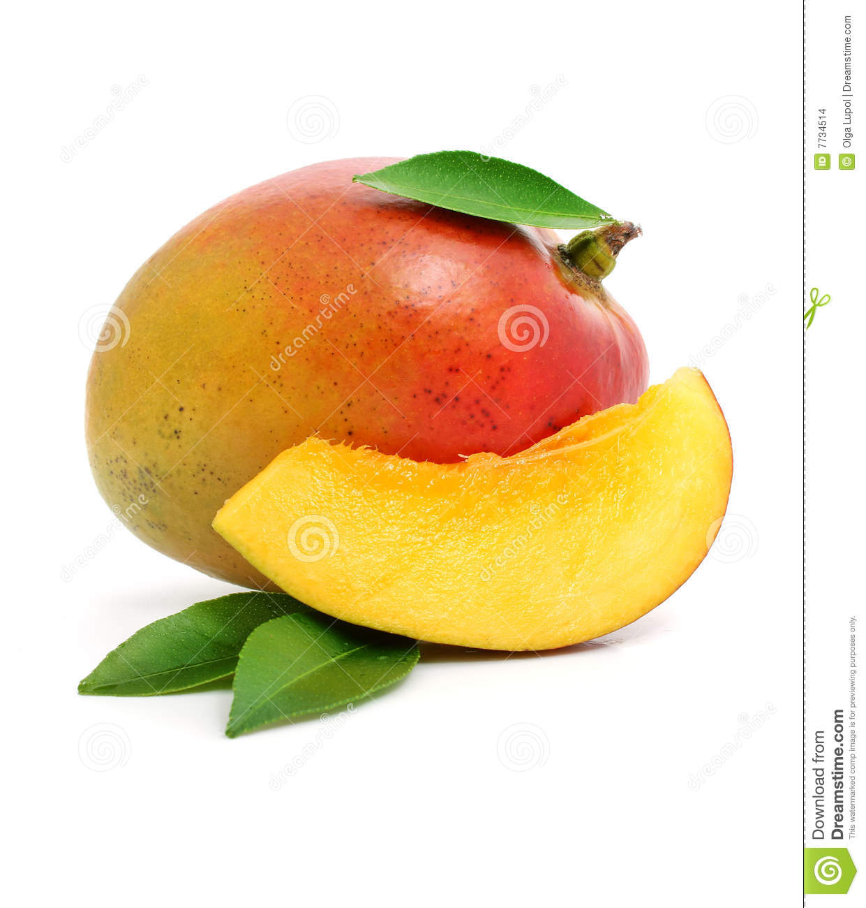Fresh mango fruit with cut and green leafs