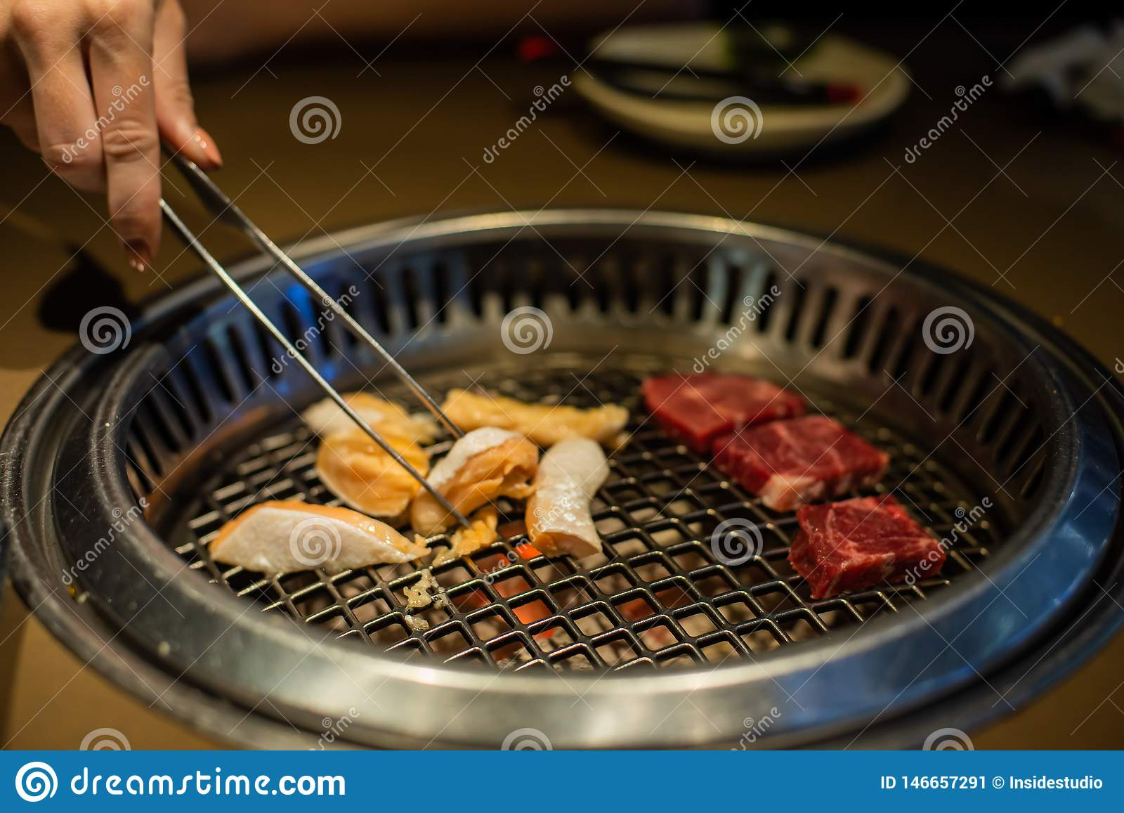Fresh Meat Grilling Meat In A Korean Restaurant Traditional Korean Food Stock Image Image Of Grilling Dish 146657291