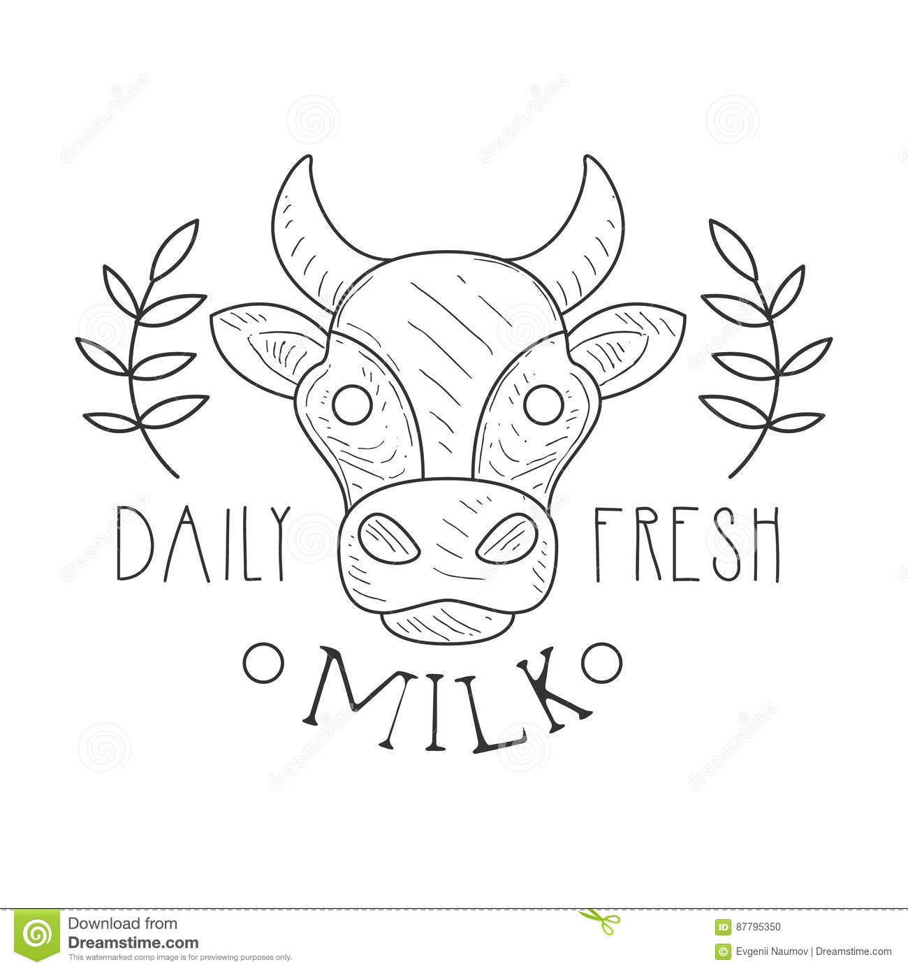 Fresh Milk Product Promo Sign In Sketch Style With Cow And Plant ...