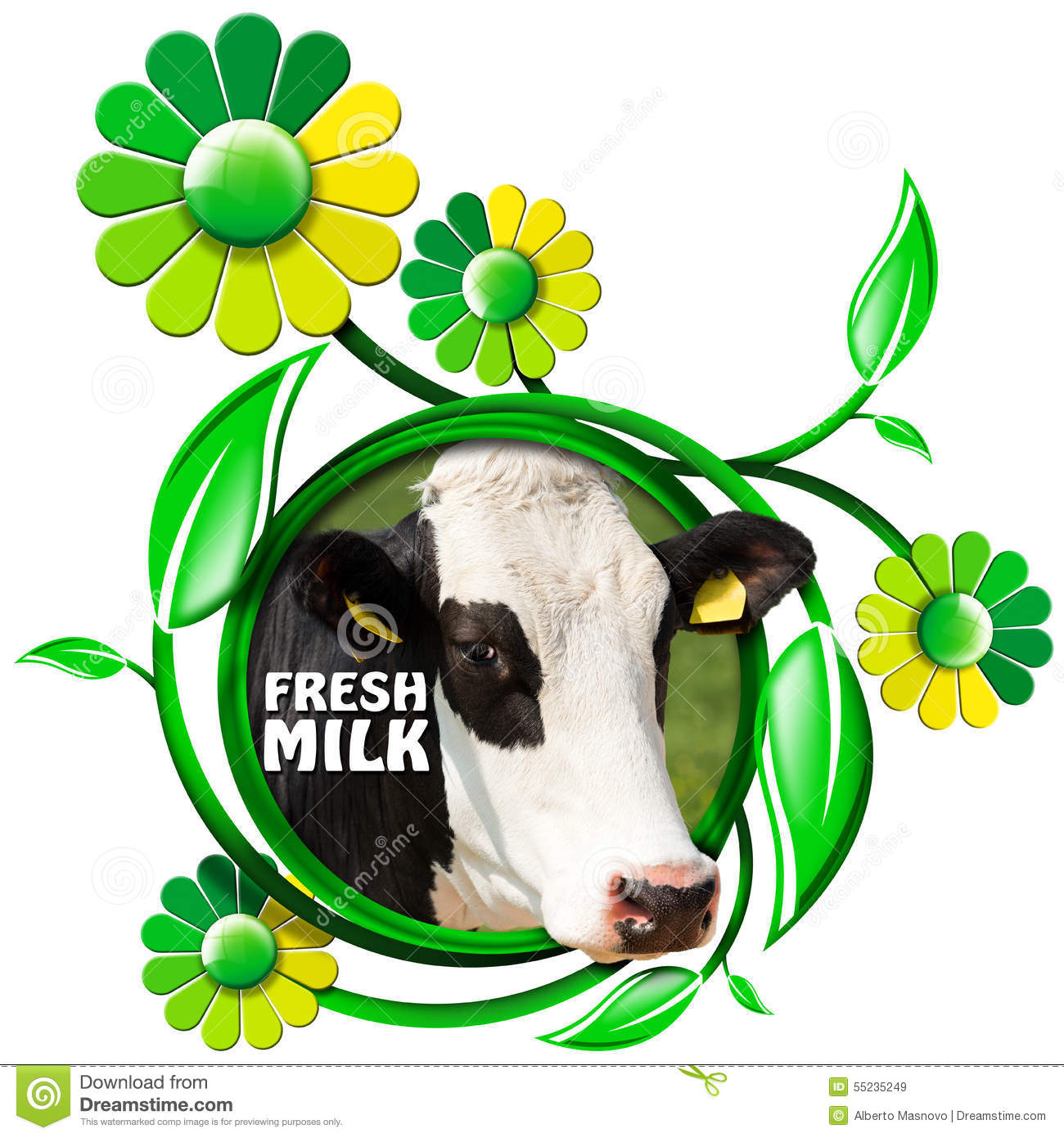 Fresh milk symbol with cow and flowers stock illustration fresh milk symbol with cow and flowers buycottarizona