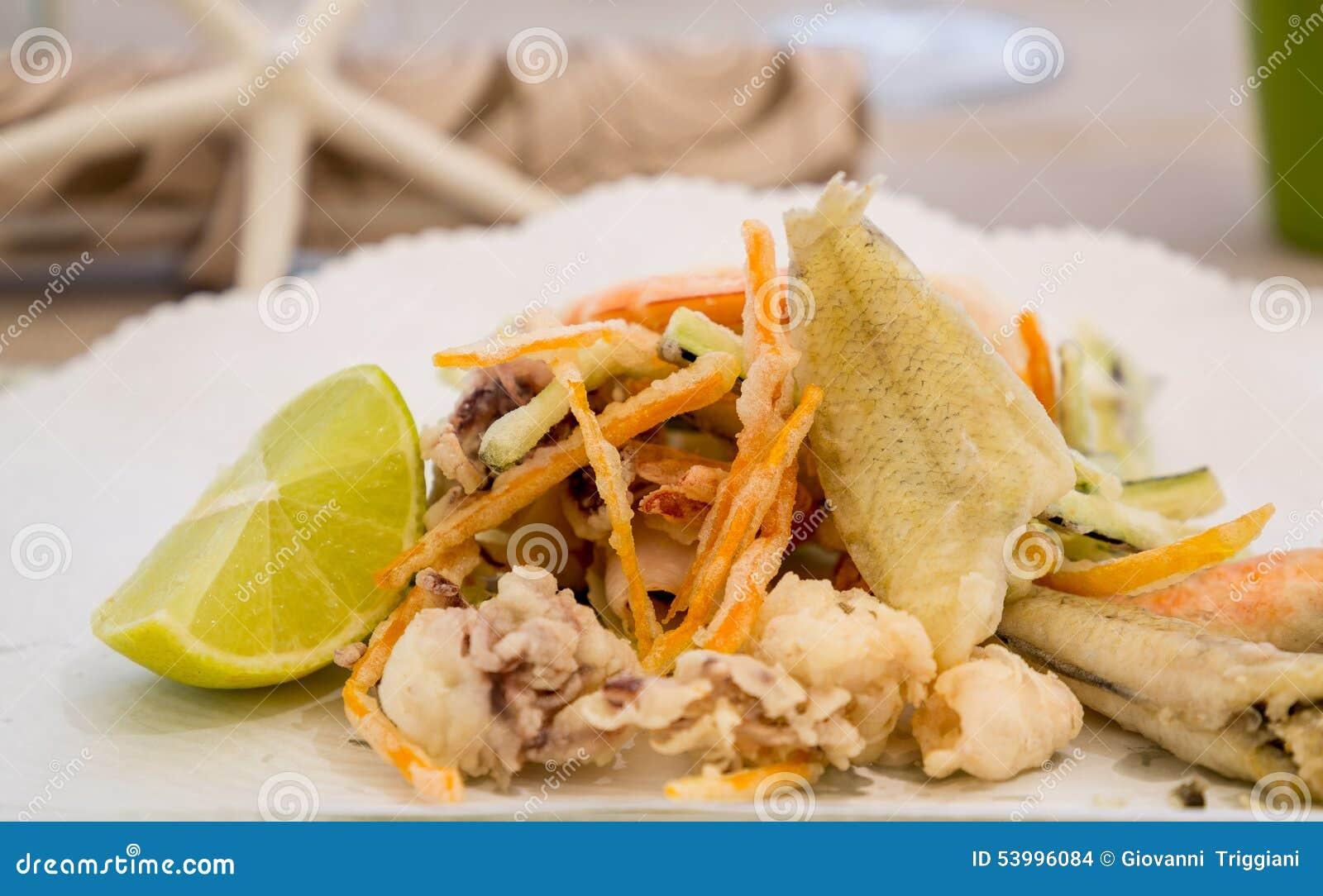 Fresh mixed fried fish