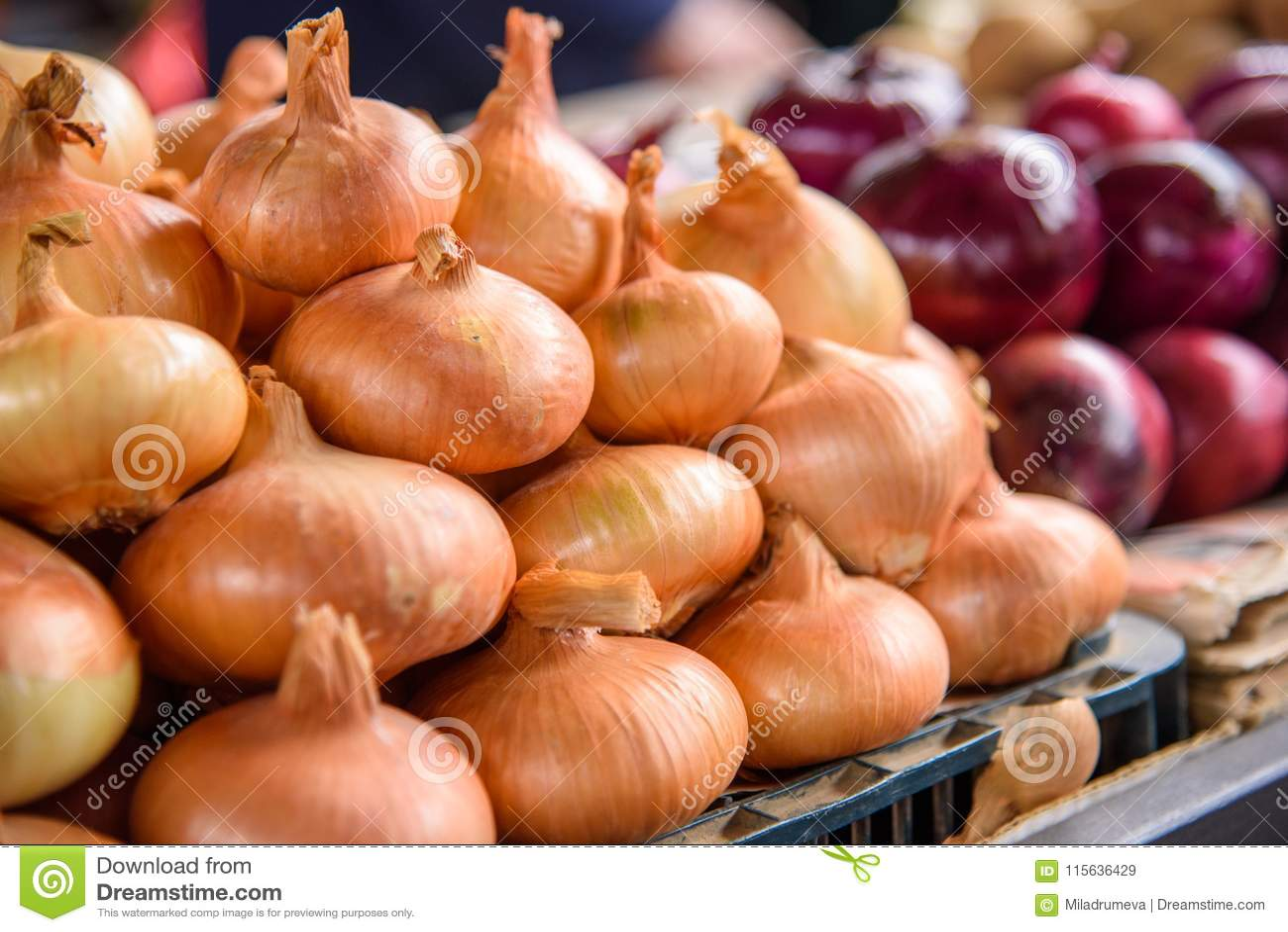 Fresh onion at the market