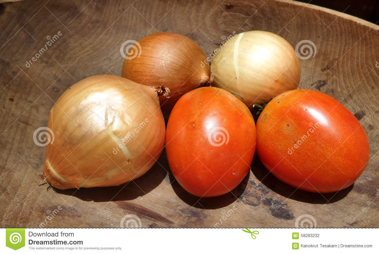 Fresh Onion And Red Tomato In Kitchen Wooden Bowl Stock Photo  Image