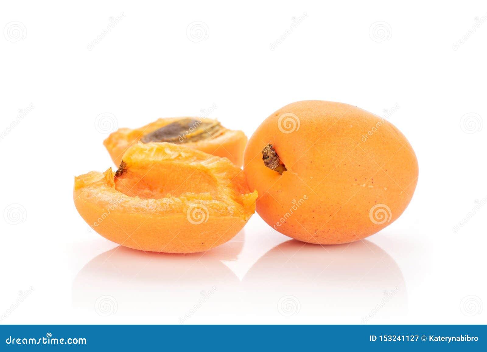 Fresh orange apricot isolated on white