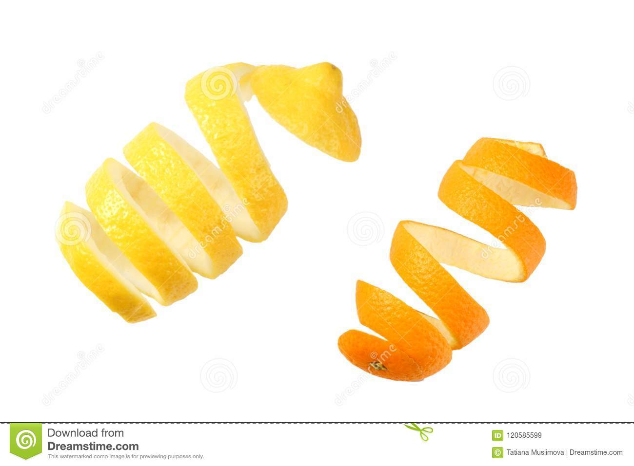 fresh orange and lemon peels isolated on white background top view