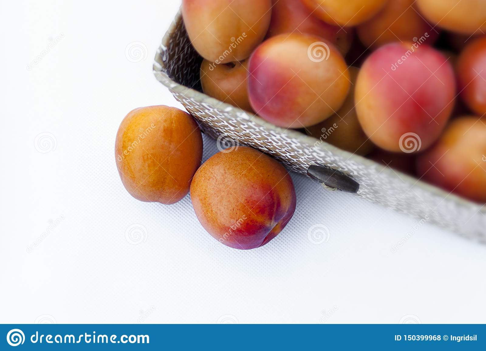 Fresh Organic Apricot In A Fiber Open Box On White Background Some Apricots Stock Photo Image Of Apricot Carotene 150399968