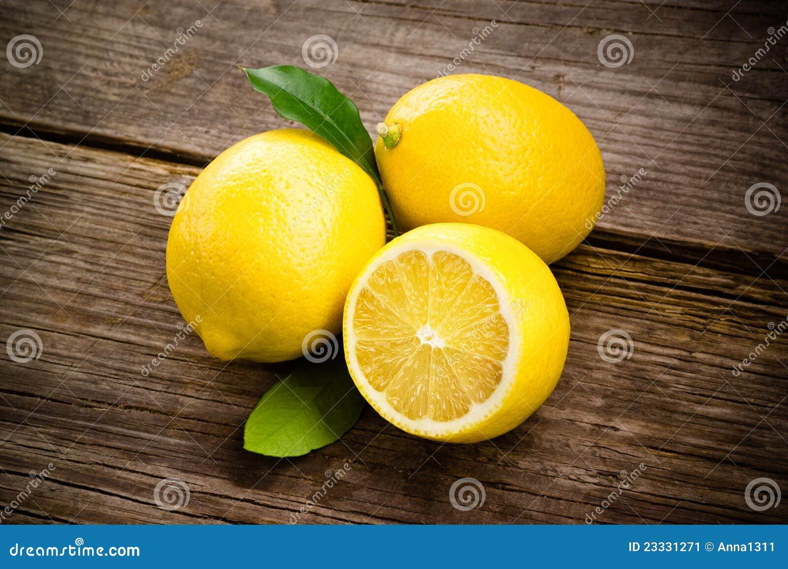 Fresh Organic Fruit - Lemons On Wood Stock Image - Image ...