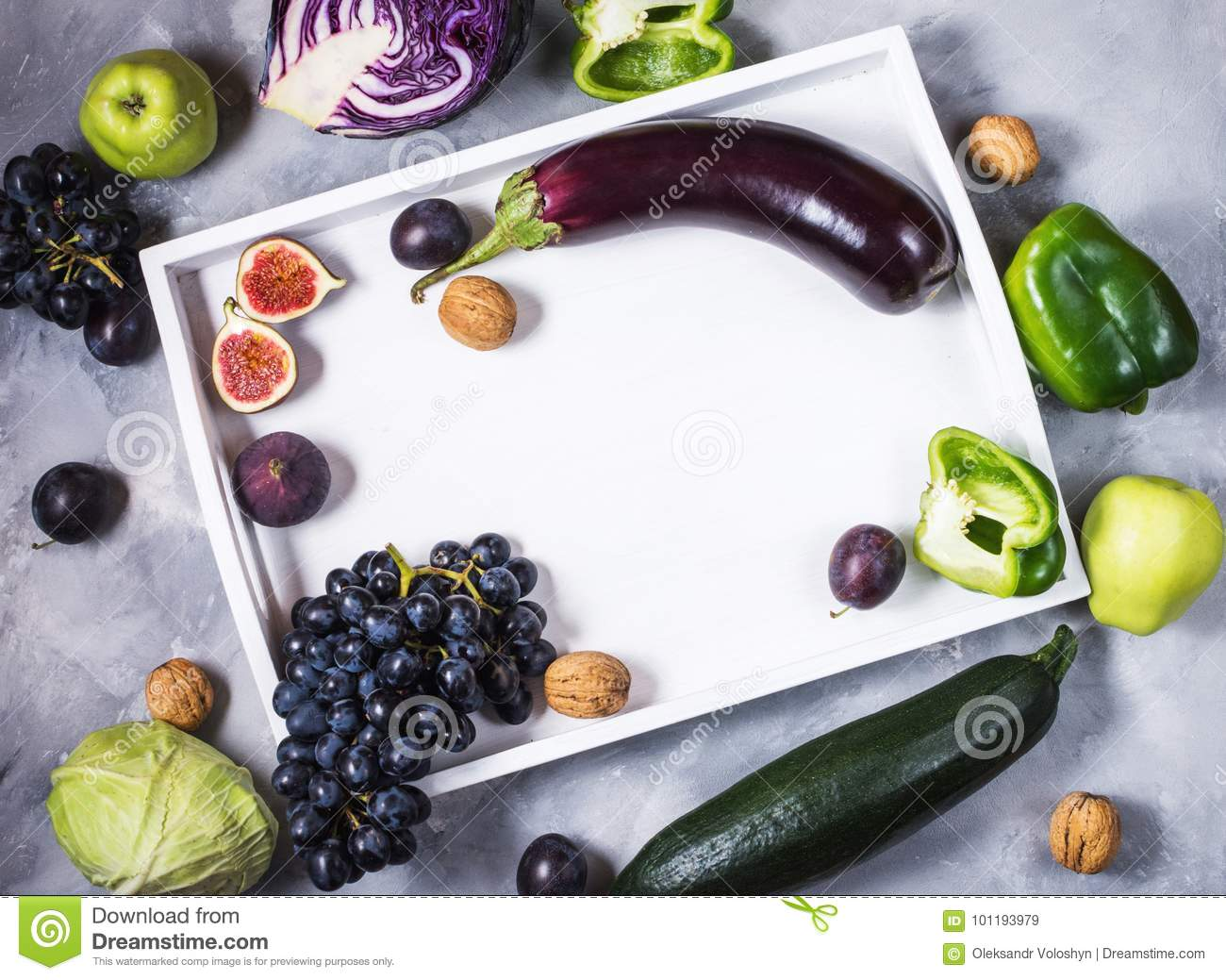 Fresh Organic Raw Green And Purple Colored Vegetables And Fruits In ...