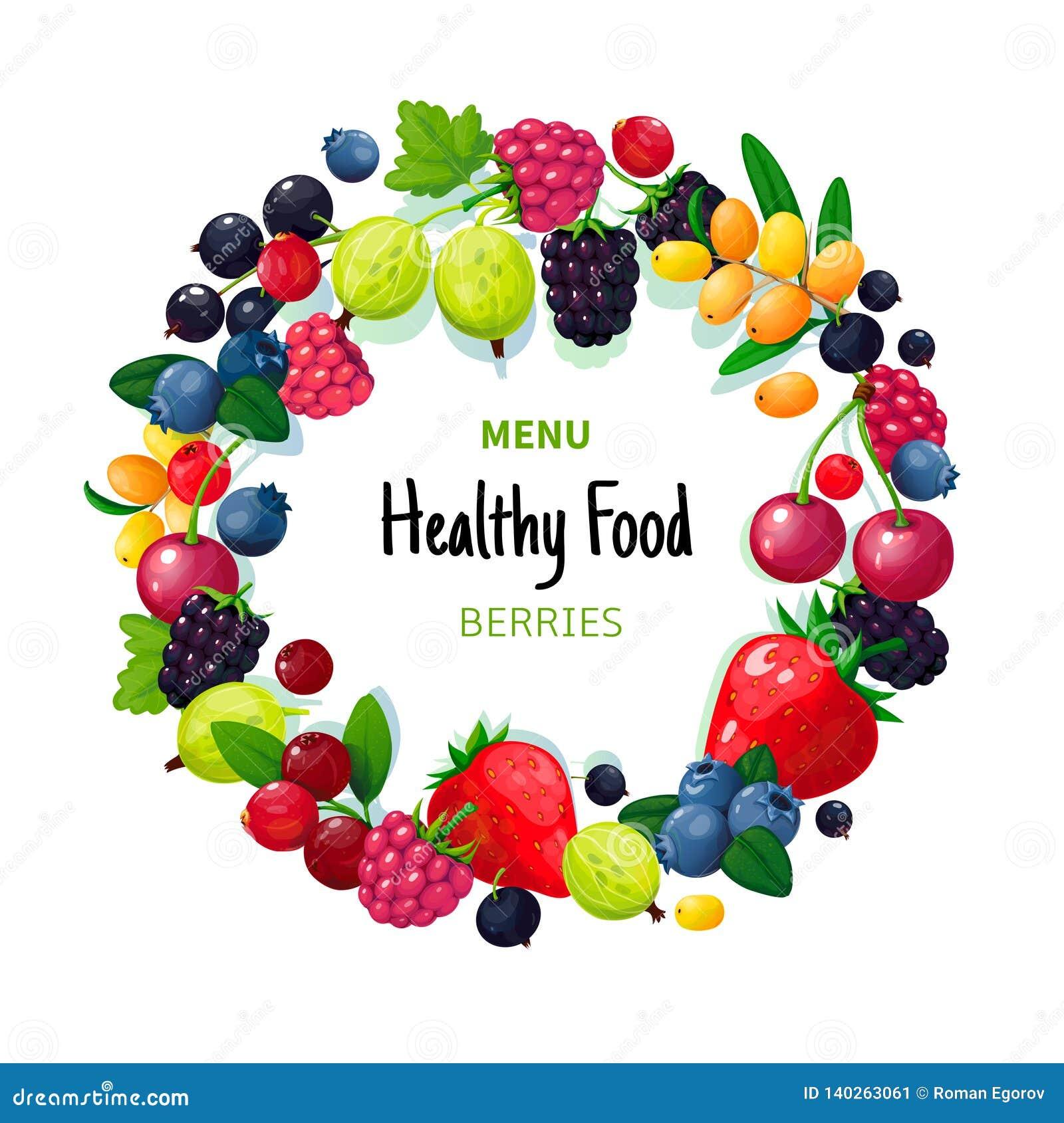 Fresh organic summer berries and fruits. Strawberry blueberry gooseberry blackberry raspberry. Healthy food vegan cafe
