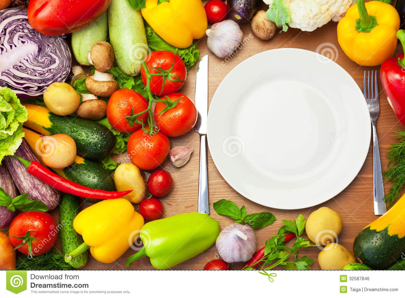 Fresh Organic Vegetables Around White Plate With Knife And ... Table Knife Clipart