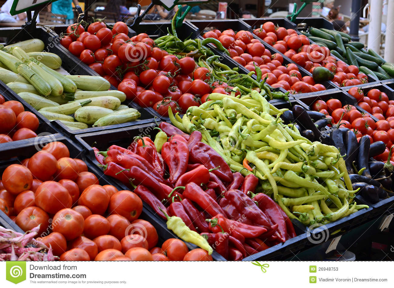Fresh And Organic Vegetables At Farmers Market Stock