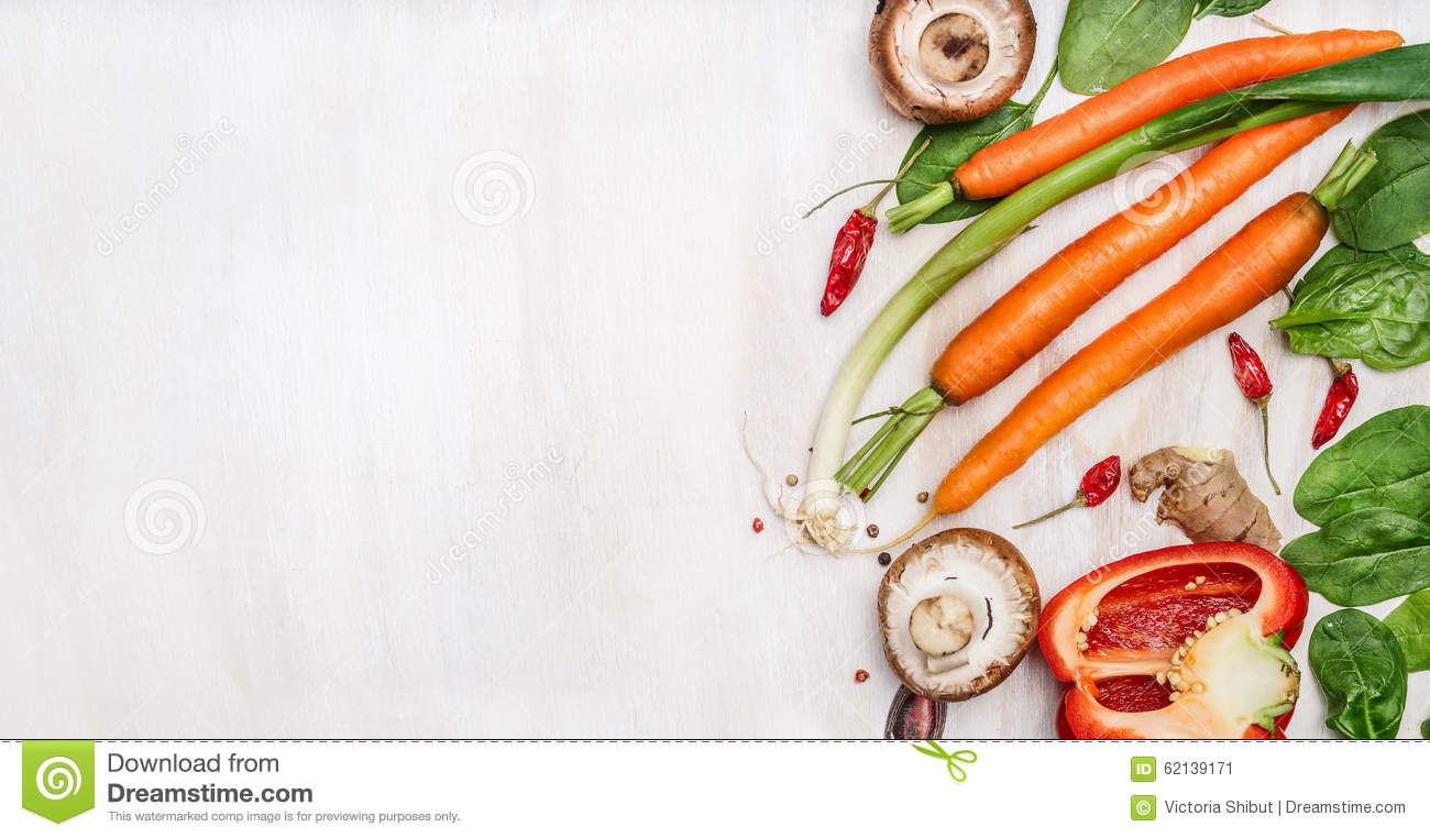Fresh Organic Vegetables Ingredients For Tasty Cooking On