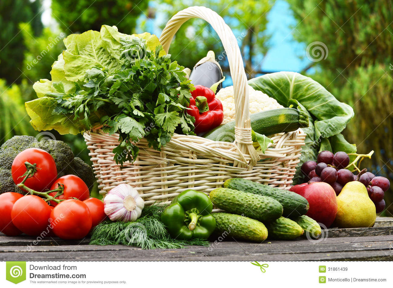 Fresh Organic Vegetables In Wicker Basket In The Garden Royalty Free ...