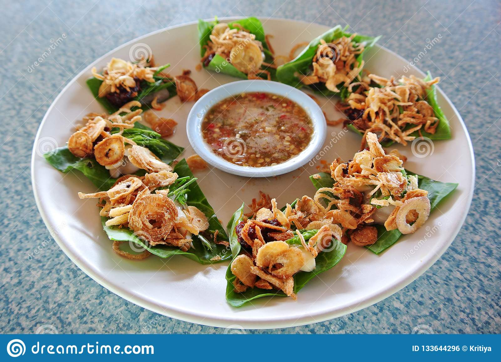 Fresh Oysters With Fried Red Onion And Seafood Chili Sauce Serve On Green Kale Leaf Thai Cuisine Style Stock Photo Image Of Bangkok Seafood 133644296