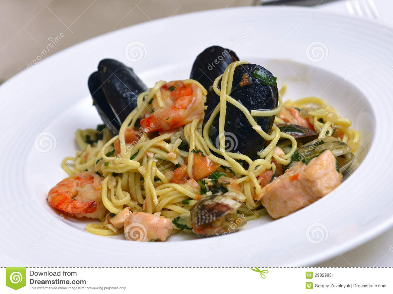 Fresh Pasta With Seafood Stock Image - Image: 29829831