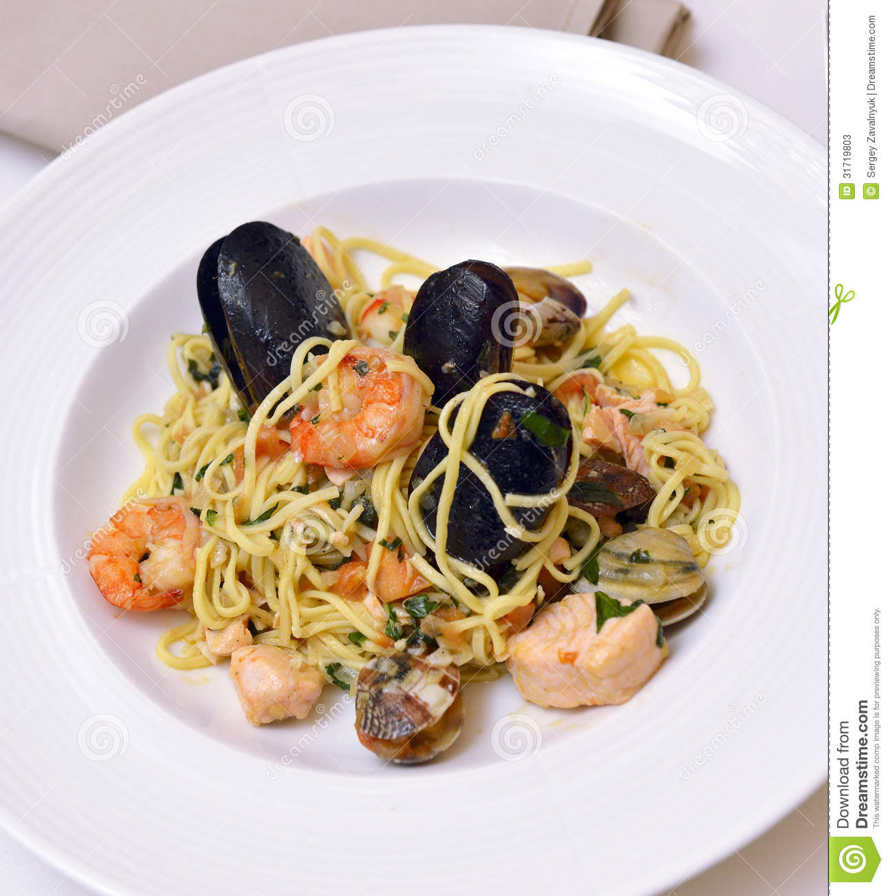Linguine With Mussels And Fresh Herbs Recipe — Dishmaps