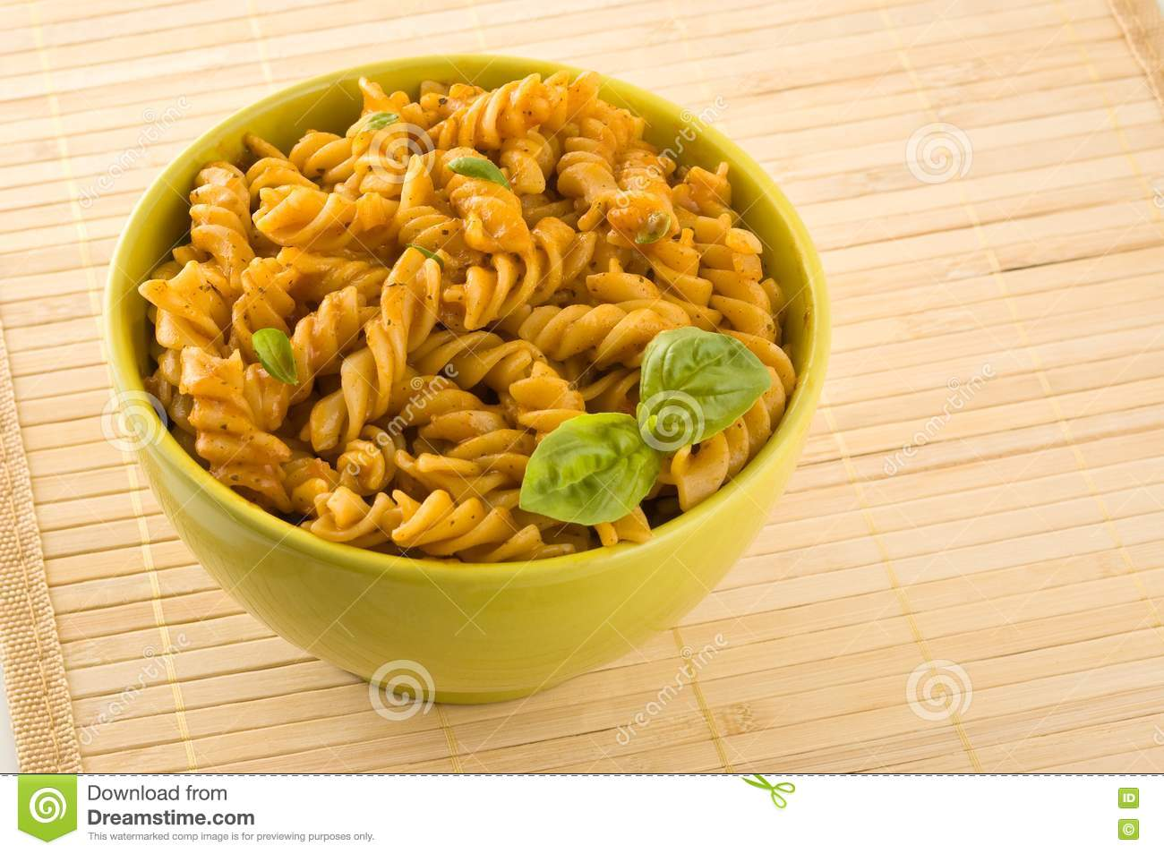Fresh Pasta With Tomato Sauce And Basil. Royalty Free ...